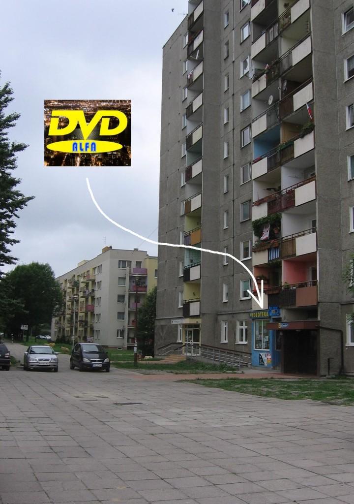 """02 Wypożyczalnia filmów DVD """"ALFA"""" 45-304 Opole ul. Sieradzka 3 Malinka lokal"""